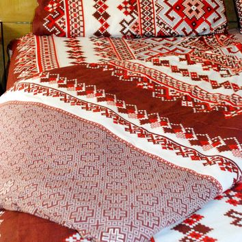 "Bedding sheet set ""Tracery"" with duvet cover. Red"