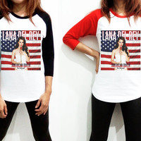 Unisex - Lana Del Rey US Flag Billboard Music Men Women Long Sleeve Baseball Shirt Tshirt Jersey