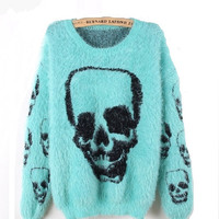 Wool Skull Headgear Crewneck Sweater