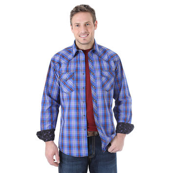 Wrangler 20X Men's Long Sleeve Western Snap Plaid Shirt Black/Purple