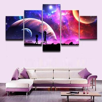 Rick And Morty Cartoon Star Sky Moon Poster Wall Art Canvas