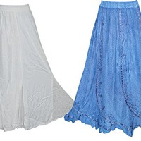 Womens Maxi Skirt Embroidered Flare A-Line Vintage Boho Long Skirts Wholesale Lots Of 2