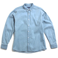 OK Washed Cotton Twill Button-Up Shirt Washed Denim