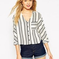 ASOS | ASOS Mono Stripe Blouse With Deep V Neck at ASOS