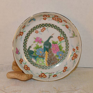 Japan Peacock Bowl Vintage Mid Century Japanese Porcelain China Gilded Footed Bowl Birds Butterfly Flowers Oriental Asian Decor Rice Bowl