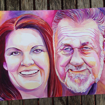 LOSS of FATHER loss of HUSBAND - Custom portrait - Watercolor - In loving memory of husband - Sympathy gift - Grieving gift