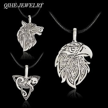 QIHE JEWELRY Wolf Fox Eagle Norse Viking Necklace For Men Norse Vikings Talisman Original Wild Men Jewelry Supernatural Amulet