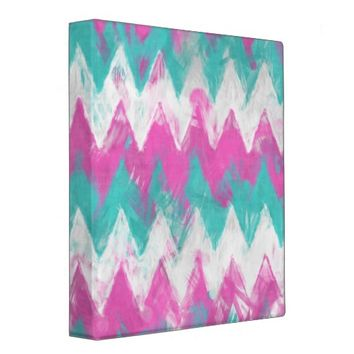 Pink and Mint Chevron Binder