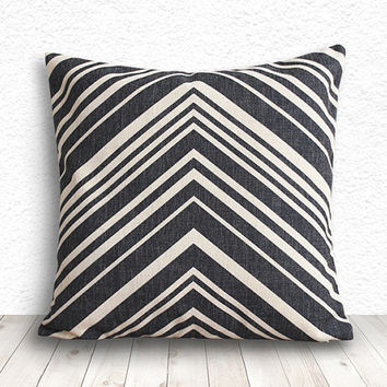 Pillow Cover, Geometric Pillow, Geometric Pillow Cover, Linen Pillow Cover 18x18 - Printed Geometric - 108