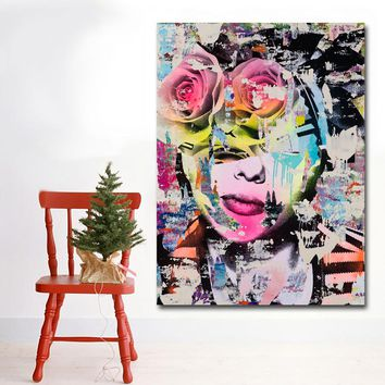 Abstract Art Colorful Girl Roese Paintings Canvas Printed Wall Art Prints Poster Cuadro For Living Room Home Decor