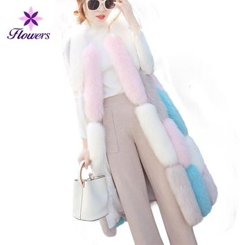 New Winter Faux Fur Coat Women Korean Contrast Color Plus Size Loose Fur Collar Vest Stitching Slim Long Sleeveless Coat LR320
