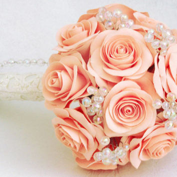 Salmon rose wedding bouquet - Pale coral - Bridal bouquet. Light coral, peachy rose bouquet