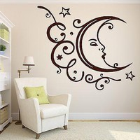 Wall Vinyl Sticker Decal Sleeping Moon Stars Clouds Relaxation Vacation Unique Gift (n211)