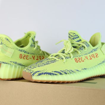 Adidas Yeezy by Kanye West Boost 350 V2 Yebra Semi Frozen Yellow Red B37572 9-11