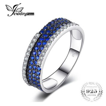 JewelryPalace 0.8ct Created Blue Spinel Cluster Cocktail Ring 100% Real 925 Sterling Silver Fashion Brand Fine Jewelry For Women
