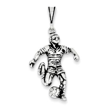Sterling Silver Antiqued Soccer Player Charm