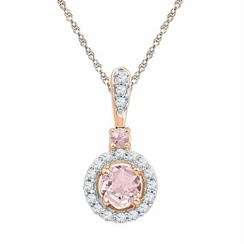 10k Rose Gold Women's Lab-Created Morganite Solitaire Pendant
