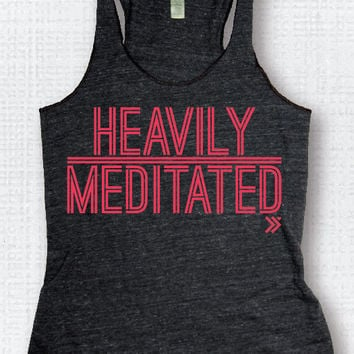 HEAVILY MEDITATED...... Charcoal / Neon Coral Eco Tank