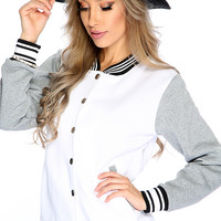 White Grey Button Up Two Tone Letterman Jacket
