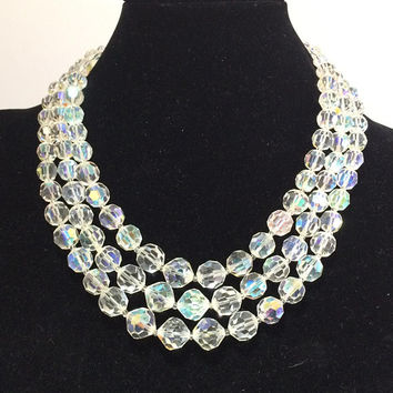 Marvella Aurora Borealis Bead Necklace, Faceted Crystal Glass Beads, Mid Century Bridal Jewelry Silver Tone Setting 318