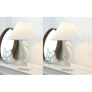Set of 2 Charming Seahorse Table Lamps