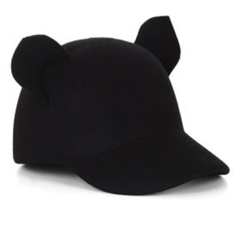Black BCBG Wild Animal Wool Baseball Hat
