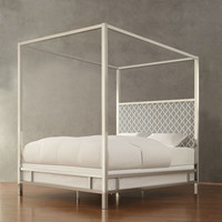 King size Contemporary Canopy Bed with Grey White Upholstered Headboard