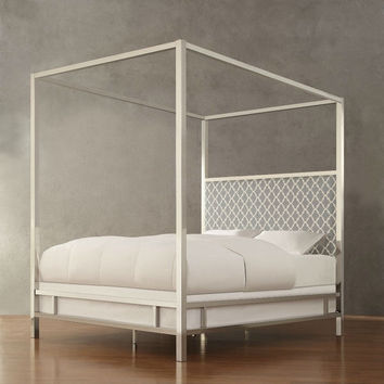Queen Size Contemporary Canopy Bed with Gray White Upholstered Headboard