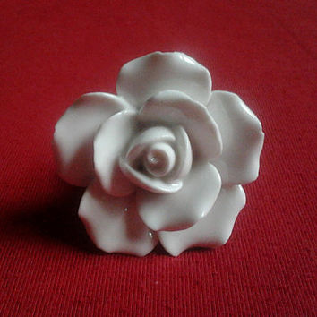 Flower Drawer Knobs / Rose Dresse Knobs Pulls Handles / White Unique Cabinet Knobs Pull Handle / Ceramic Decorative Knobs Furniture Hardware
