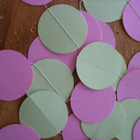 PINK and MINT GREEN Paper Circle Garland Perfect for Weddings, Bridal or Baby Showers, Birthdays, Parties, Any Occasion, 10 Feet Long!