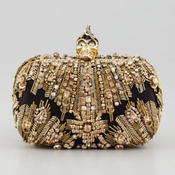 Alexander McQueen Crystal-Embroidered Punk Skull Clutch Bag, Gold