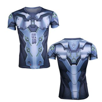 Genji and Reaper  elastic Costume T-shirt DVA Cosplay Adults Catsuit  male Halloween costume