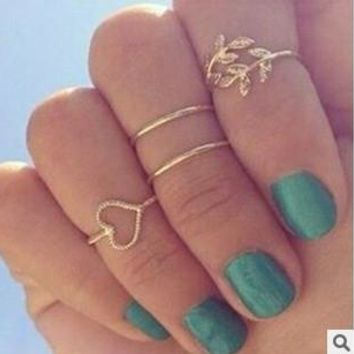 8pcs/2set(1 set gold and 1 set silver) Fashion Women Silver & Gold Jewelry Mid-Finger Rings Knuckle ring Set Sweet heart Leaf Rhinestone = 5979097537