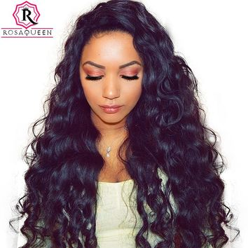 Loose Wave Lace Front Human Hair Wigs 250% Density Brazilian Virgin Hair Wig Pre Plucked Frontal Lace Wig For Women Rosa Queen
