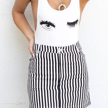 Speaking Terms Black & White Striped Skirt