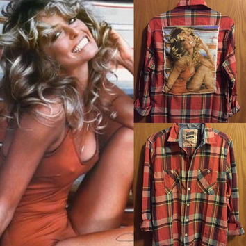 Handmade vintage Farrah Fawcett tee and  flannel combo shirt top mens medium ladies medium large
