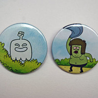 "Regular Show - High Five Ghost and Muscle Man 2x1.5"" Pinback button badge set from Stickerama"
