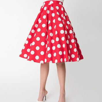 Vintage Style Red & White Polka Dot Cotton Circle Skirt