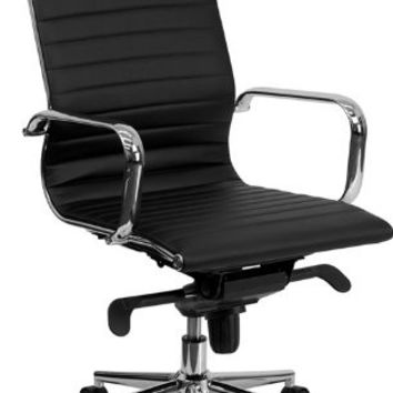 High Back Black Ribbed Upholstered Leather Executive Swivel Office Chair '
