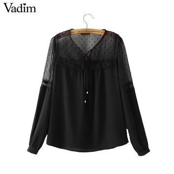 Women V neck tie lace patchwork chiffon shirt sweet pleated long sleeve blouse blusas mujer black white brand tops LT1533