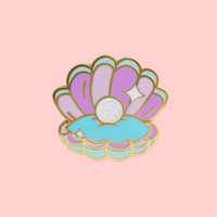 Shiny Pearl Clam Hard Enamel Pin - The Fox Knows