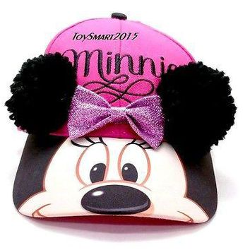 Disney Minnie Mouse Soft Ear Deco Pink Baseball Cap Hat
