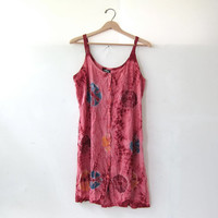 Vintage Tye-Dye Gypsy Dress - embroidered Indian dress - button front sundress