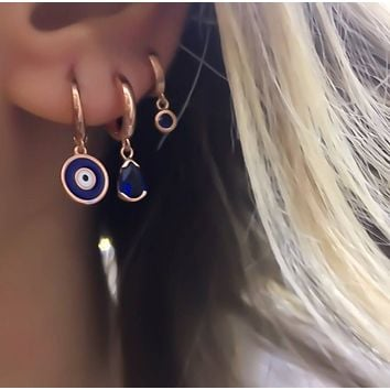 Gold Turquoise ,Navy Blue Round Earring Hoop Dangle Over 925 Sterling Silver