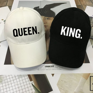 KING Queen Hat Set, Wedding Hat, Couples Hats, Honeymoon, King Queen snapback , King hat Queen hat Low-Profile Baseball Cap Baseball Hat