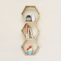 Natural Hexagon Book Shelf