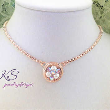 Three Nesting Eggs, Swarovski Pearl and Crystal Pendant, Rose Gold, Box Chain, adjustable, Spring, Easter,DKSJewelrydesigns, FREE SHIPPING