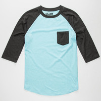Retrofit End On End Mens Baseball Tee Turquoise  In Sizes