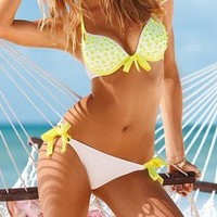 Fresh yellow and white bowknot bikini