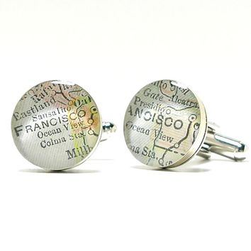 San Francisco Antique Map Cufflinks